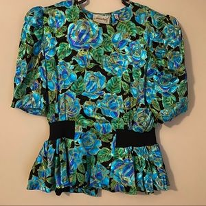Vintage Adrianna Papell Floral Silk Blouse
